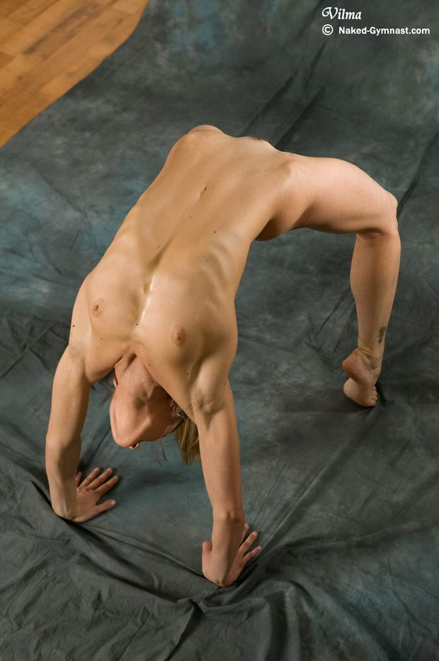 nude ballet dancer exercises